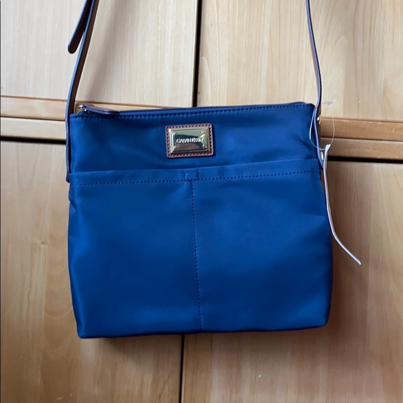 Calvin Klein navy nylon cross body bag NWT